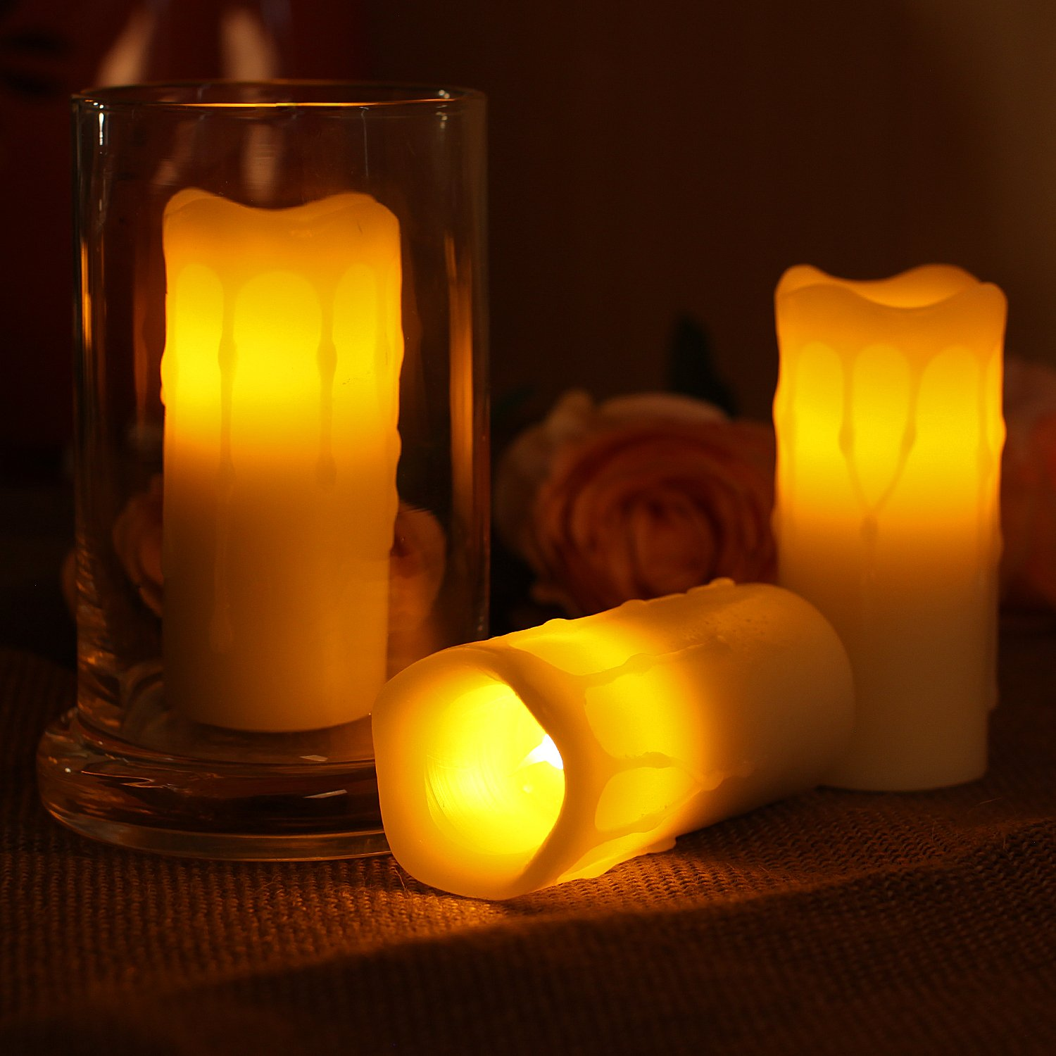 Greluna LED Votive Candles,Dripping Wax Flameless Votive Candle with Timer,Battery-Operated,Ivory,1.75x4,Pack of 3