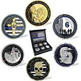 United States Police Officers Law Enforcement Challenge Coin 6 Coins with Gift Box