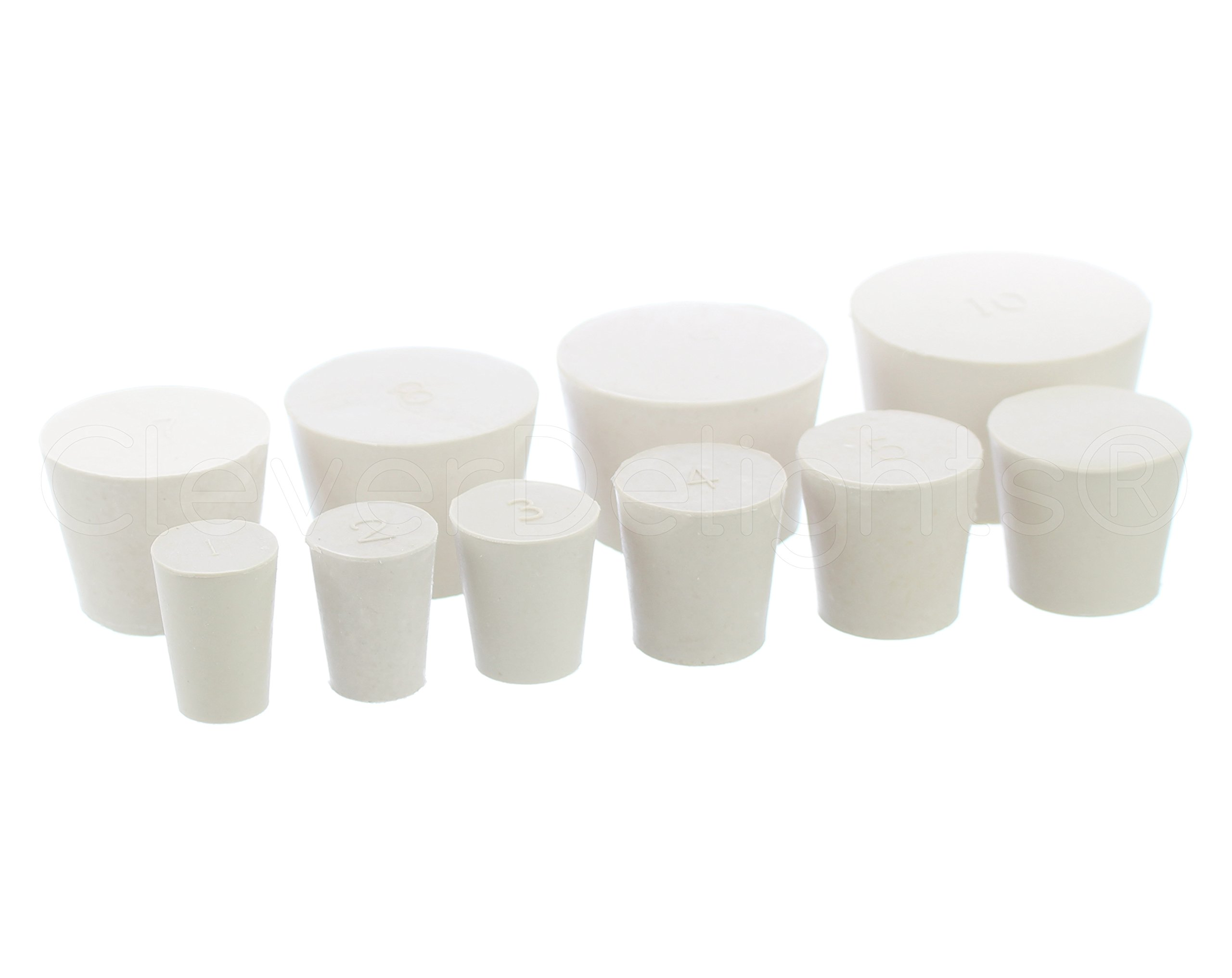 10 Pack - CleverDelights Solid Rubber Stoppers - Mix Pack - Sizes 1 to 10-1 Each Per Size by CleverDelights
