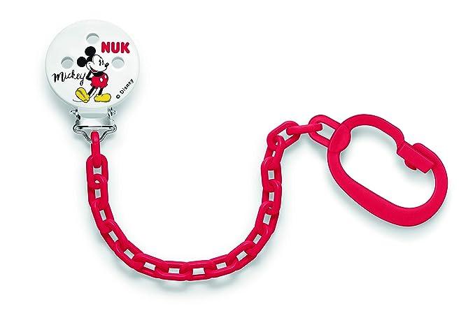 NUK 10256312 Disney Mickey Mouse, Cadena y clip para chupete, 1 pieza, colores surtidos
