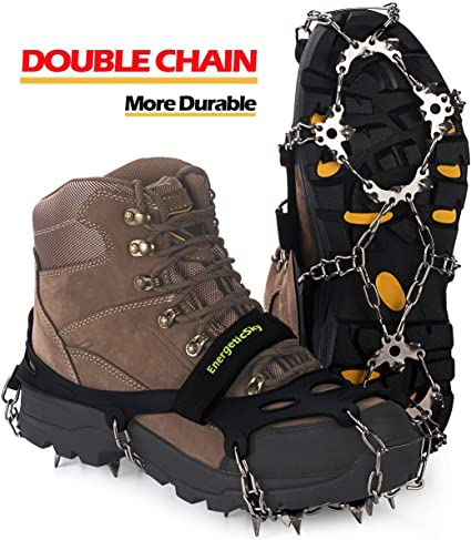 Attaches Over Shoes//Boots for Everyday Safety in Winter,Outdoor,Slippery Terrain. EnergeticSky Ice Cleats Spikes Crampons and Tread for Snow /& Ice,The Only Innovative Design on