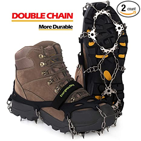 005859a1251 EnergeticSky Upgraded Version of Walk Traction Ice Cleat Spikes  Crampons,True Stainless Steel Spikes and Durable Silicone,Boots for Hiking  On Ice & ...