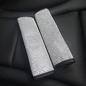 5pcs//setCar Crystal Diamond Seat Belt Covers Universal Handbrake Handle Cover Gear Shift Knob Cover Bling Rhinestone Leather Handcraft Car Accessories