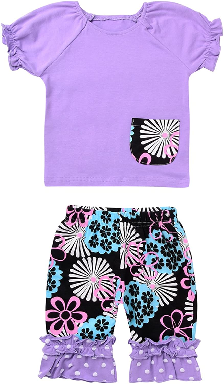 Floral Ruffle Hem Five Cents Pants 2 Pcs Baby Girls Sisters Clothes T Shirt Top