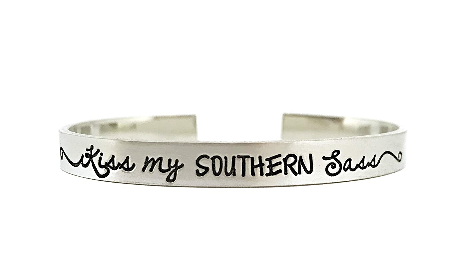 Thick Pewter Cuff Bracelet Kiss My Southern Sass Southern Jewelry Personalized Engraved Jewelry Hand Stamped Jewelry