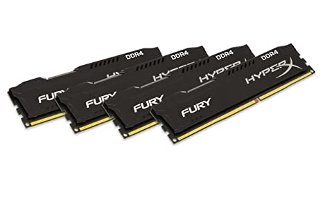 HyperX Fury Black 16GB Kit (4x4GB) 2400MHz DDR4 Non-ECC CL15 DIMM Desktop Memory (HX424C15FBK4/16) Memory at amazon