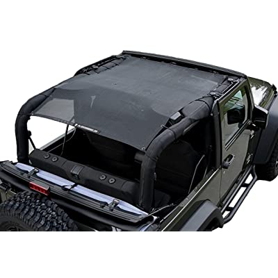 Alien Sunshade 2-Door Jeep Wrangler Mesh Shade Top Cover with 10 Year Warranty Provides UV Protection for Your JK (2007-2020) Original Black: Automotive