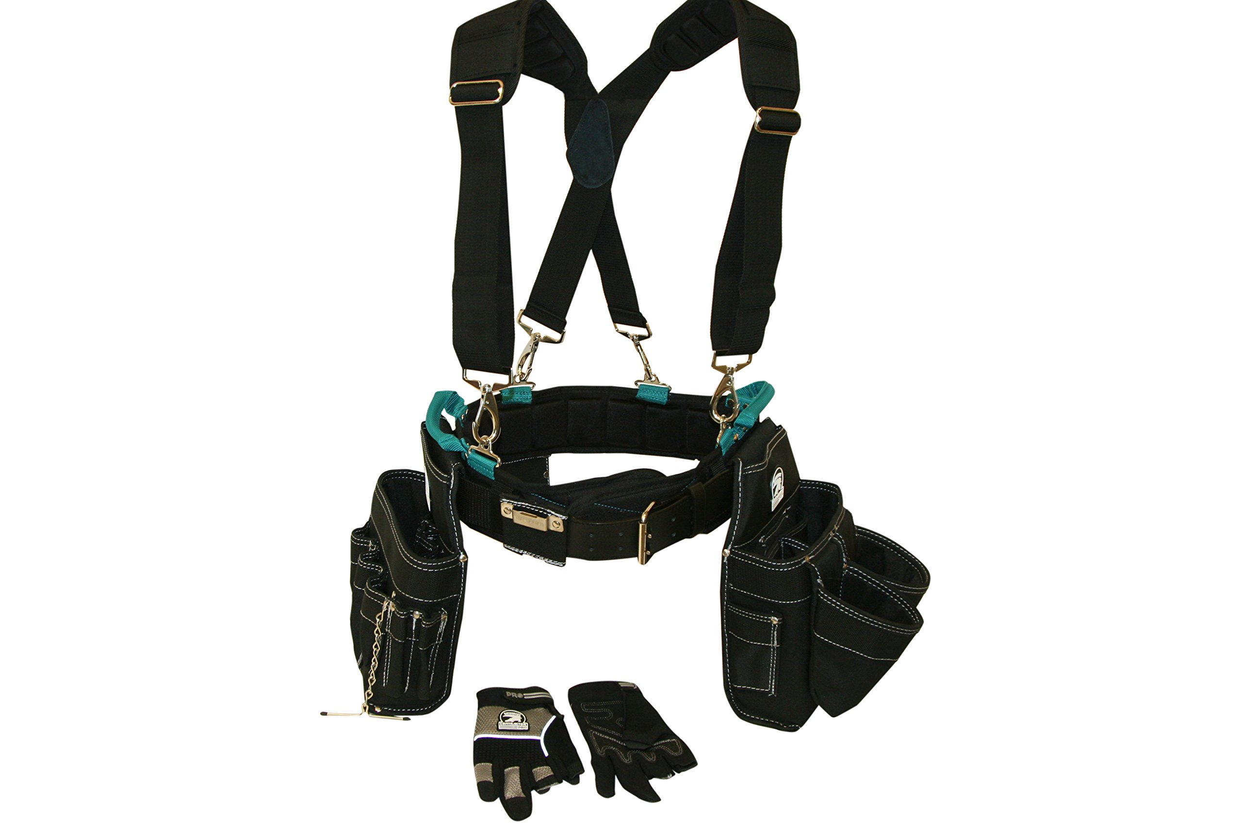 Professional Electrician's Complete Package Plus+ (Tool Belt, Bucket Tote, Suspenders, and Gloves) SMALL 26-30 Inch Waist