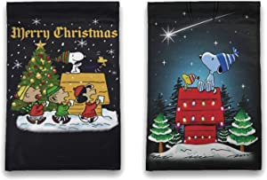 WOMFUI Snoopy Merry Christmas Garden Flag Two Sided Flags Decorating The Yard Lawn