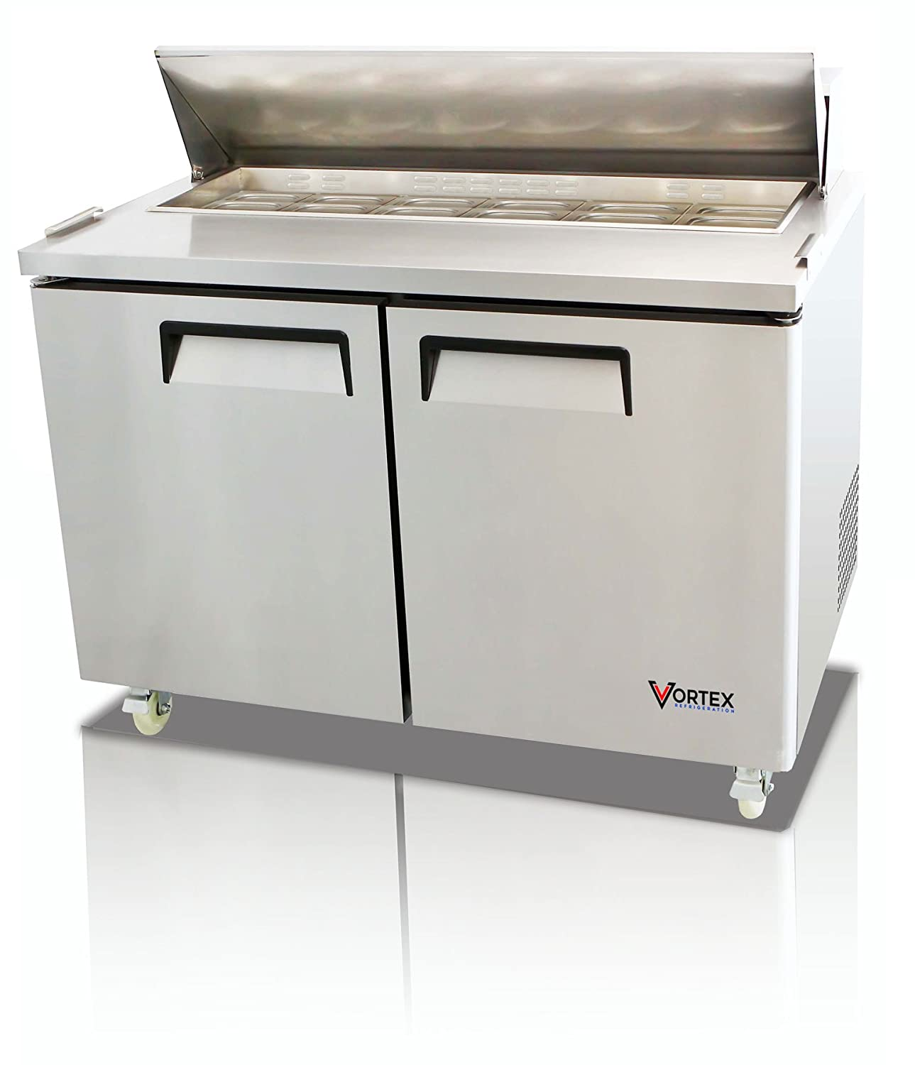 "Vortex Refrigeration Commercial 2 Door 48"", 12 Pan Sandwich Prep Table - 12.5 Cu. Ft."