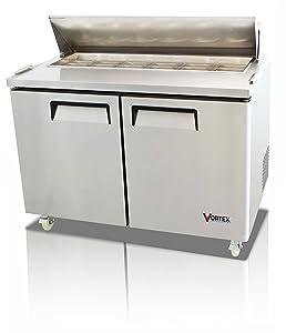 "Vortex Refrigeration Commercial 2 Door 48"", 12 Pan Sandwich Prep Table - 12.5 Cu. Ft."