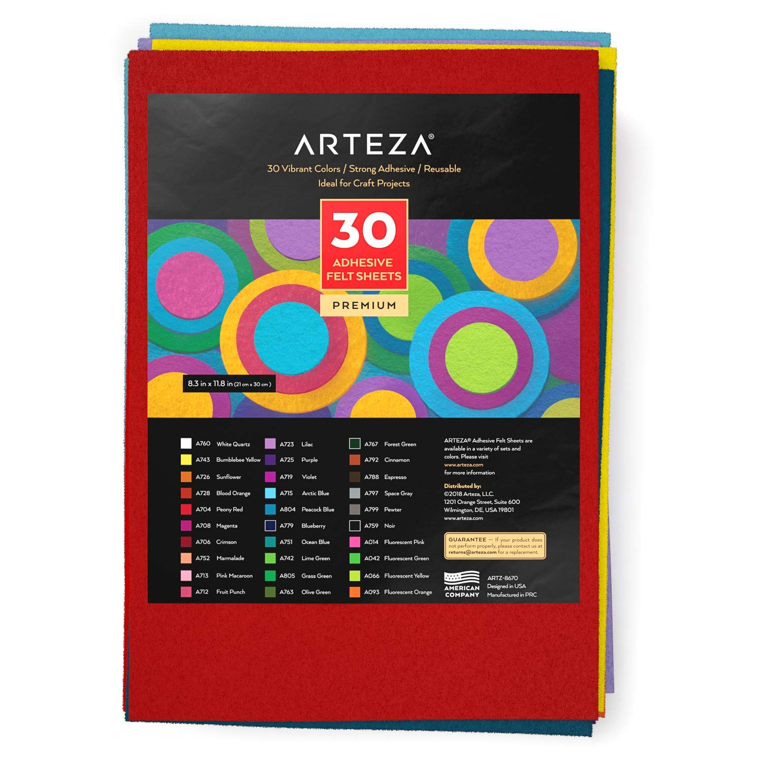 Bulk Pack of 30 1mm Thick 3//64/″ for a Variety of DIY and Arts and Crafts Projects ARTEZA 8.3x11.8 Assorted 30 Colors Adhesive Backed Felt Fabric Sheets Self-Adhesive and Flexible