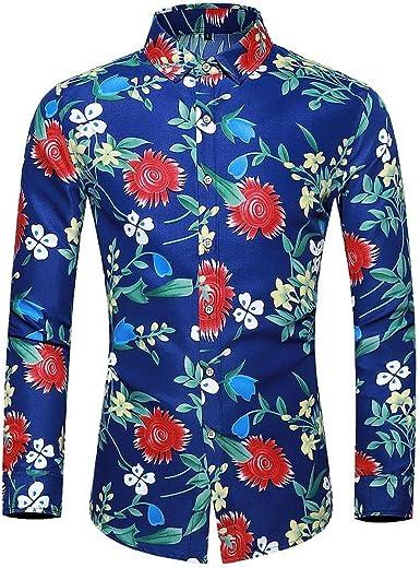 waotier Camisetas de Manga Larga Camisas para Hombre Casual Camisa Hawaiana Estampado Floral Colorido Slim Fit Camisa de Vestir de Manga Larga Blusa Tops: Amazon.es: Ropa y accesorios