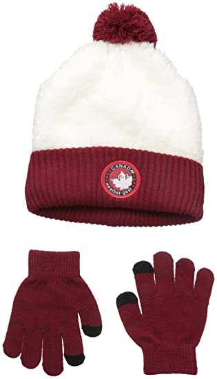Canada Weather Gear Big Girls Sherpa Cuffed Beanie and Tech Touch Gloves, Burgundy, One