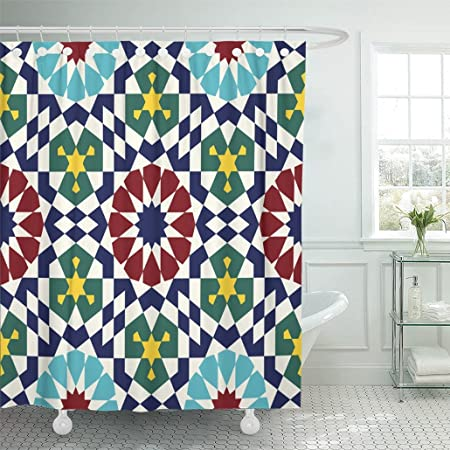 Emvency Shower Curtain 72 X78 Polyester Fabric Colorful Moroccan