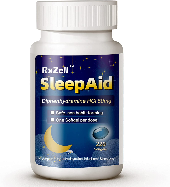 RxZell Sleep Aid, Diphenhydramine HCl 50mg, 220 Maximum Strength Softgels | Compare to Unisom, Fall Asleep Faster, Deeper Restful Sleeping