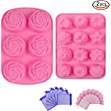 Outuxed 2 Pcs Silicone Soap Cake Ice Cube Mold with 18 Gauze Bags
