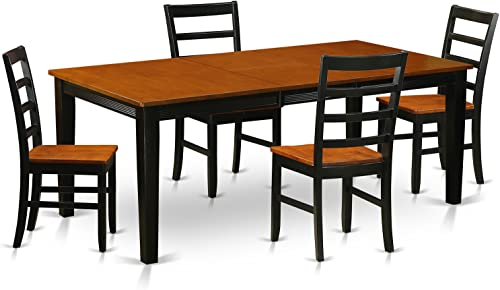 QUPF5-BCH-W 5 Pc Dining room set-Dining Table with 4 Wooden Dining Chairs