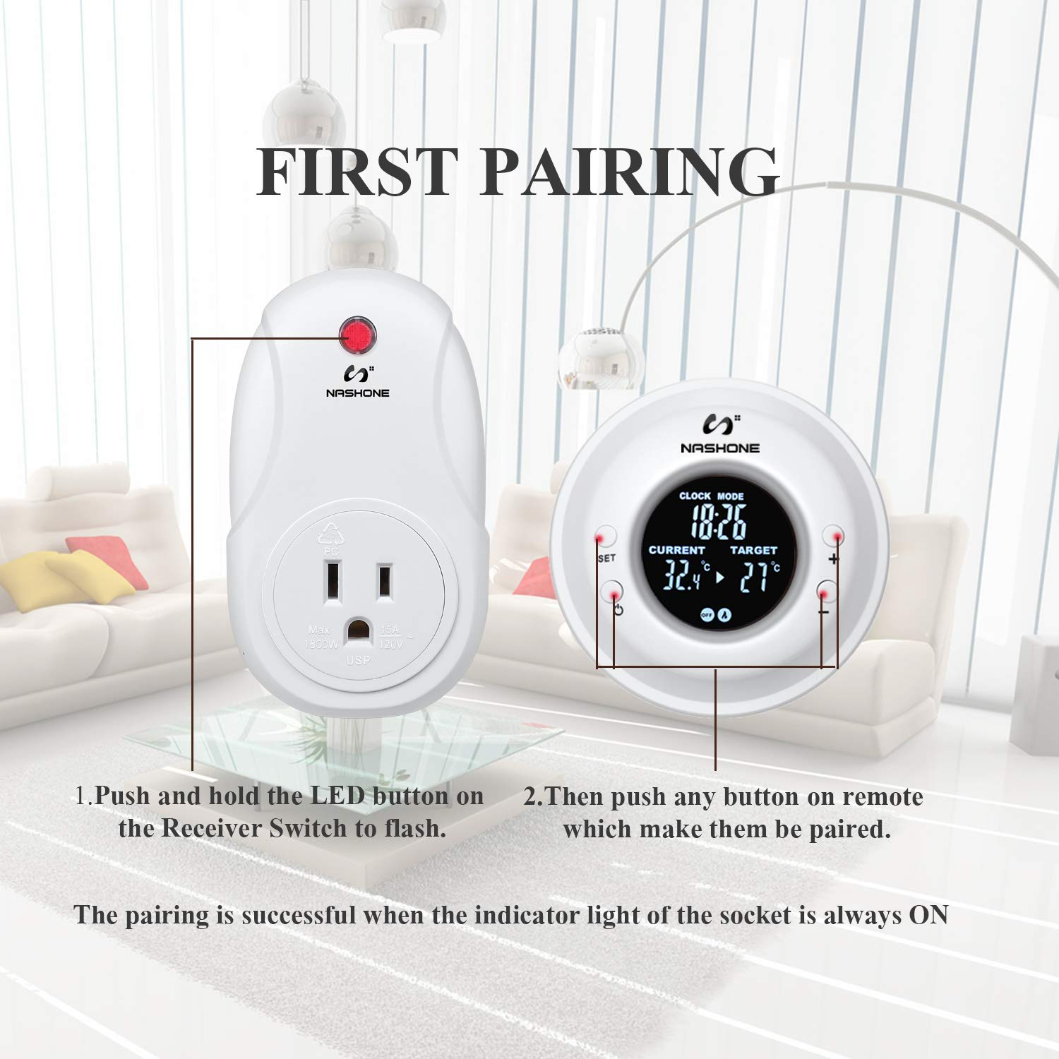 Nashone Digital Wireless Temperature Controller Built in Temp Sensor Electric Thermostat Socket 3 Prong Plug LCD Display Heating Cooling Mode