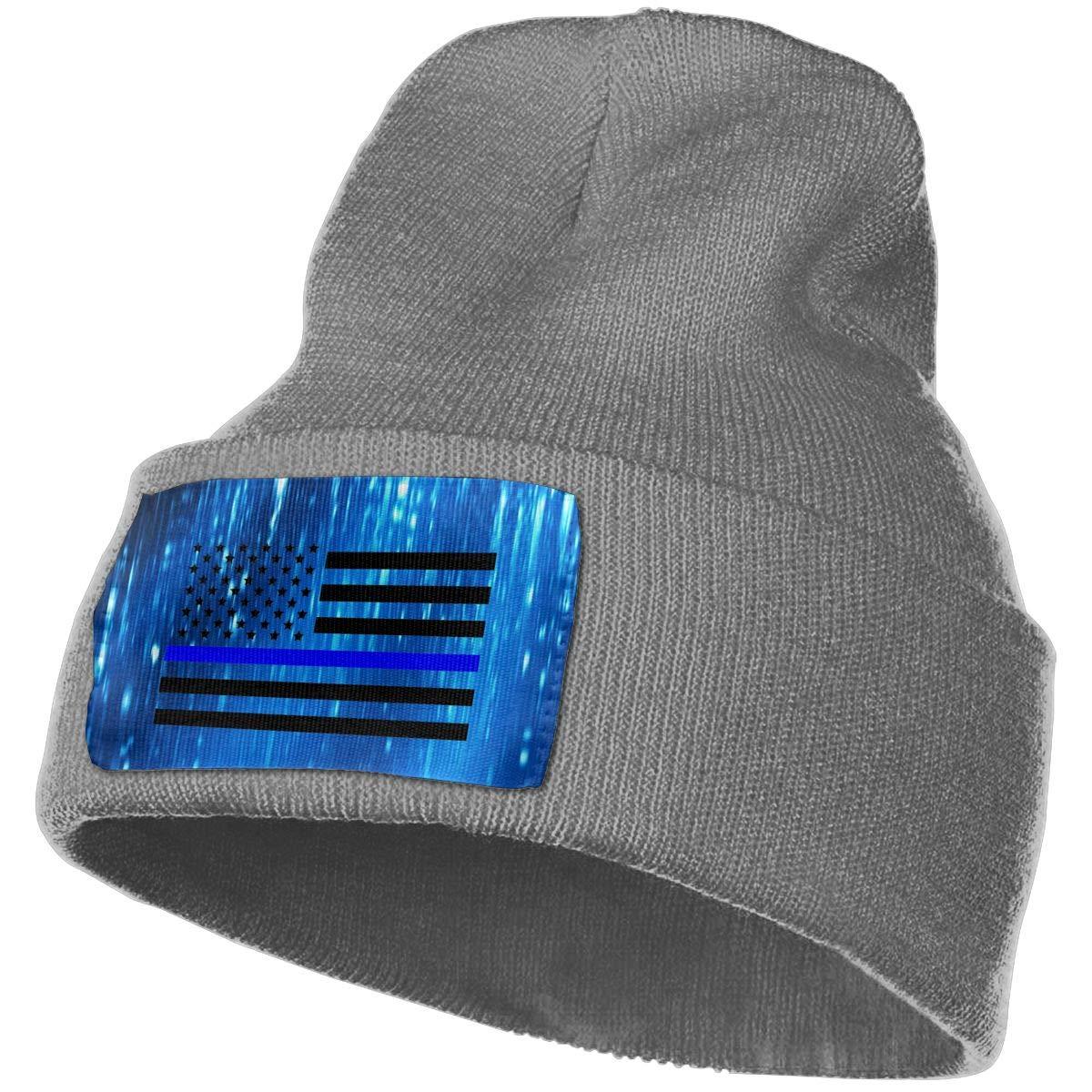 Helidoud Thin Blue Line USA Flag Winter Beanie Hat Knit Hat Cap for for Men /& Women