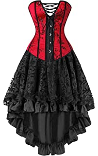 d1cc9496f00 Martya Women s Basque Gothic Boned Lace Corsets and Steampunk Bustiers Dress  with Skirt Plus Size