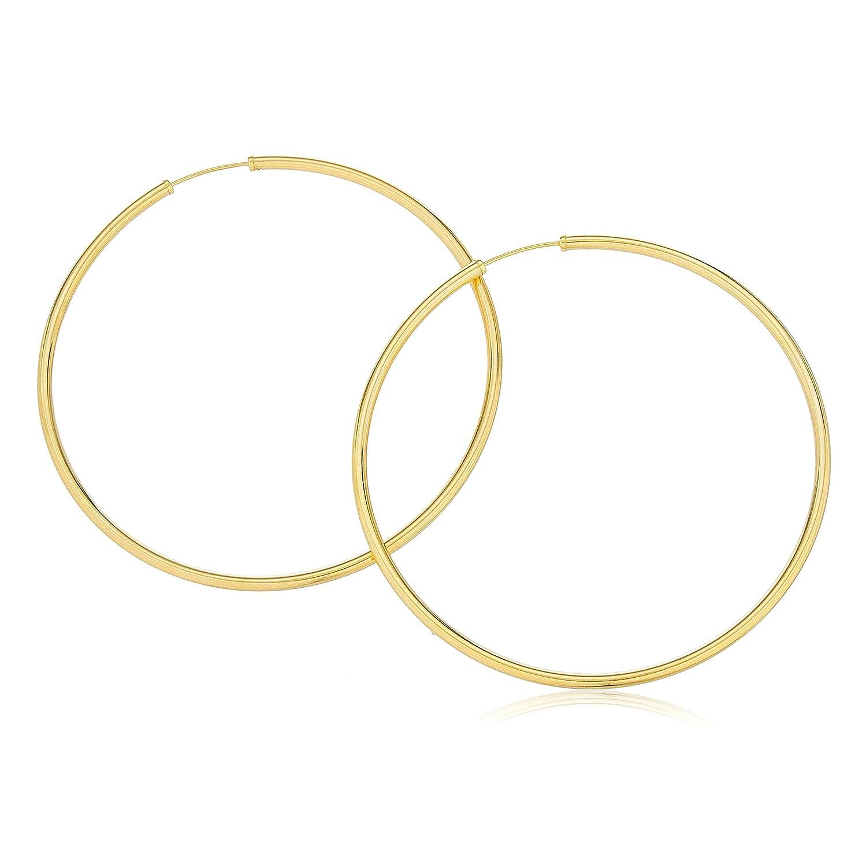 f9efc1fc6 Amazon.com: 14k Gold 2mm 2.5 Inch (60mm) Endless Hoop Earrings.: Jewelry