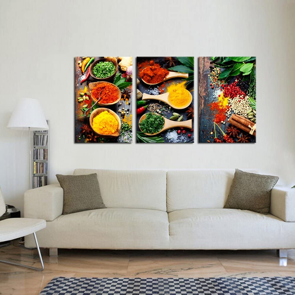 Amazon Com Kreative Arts Kitchen Pictures Wall Decor 3 Piece Set Canvas Prints Spices And Spoon Vintage Canvas Wall Art Vegetables Paintngs Print On Canvas Framed Ready To Hang For Living Room