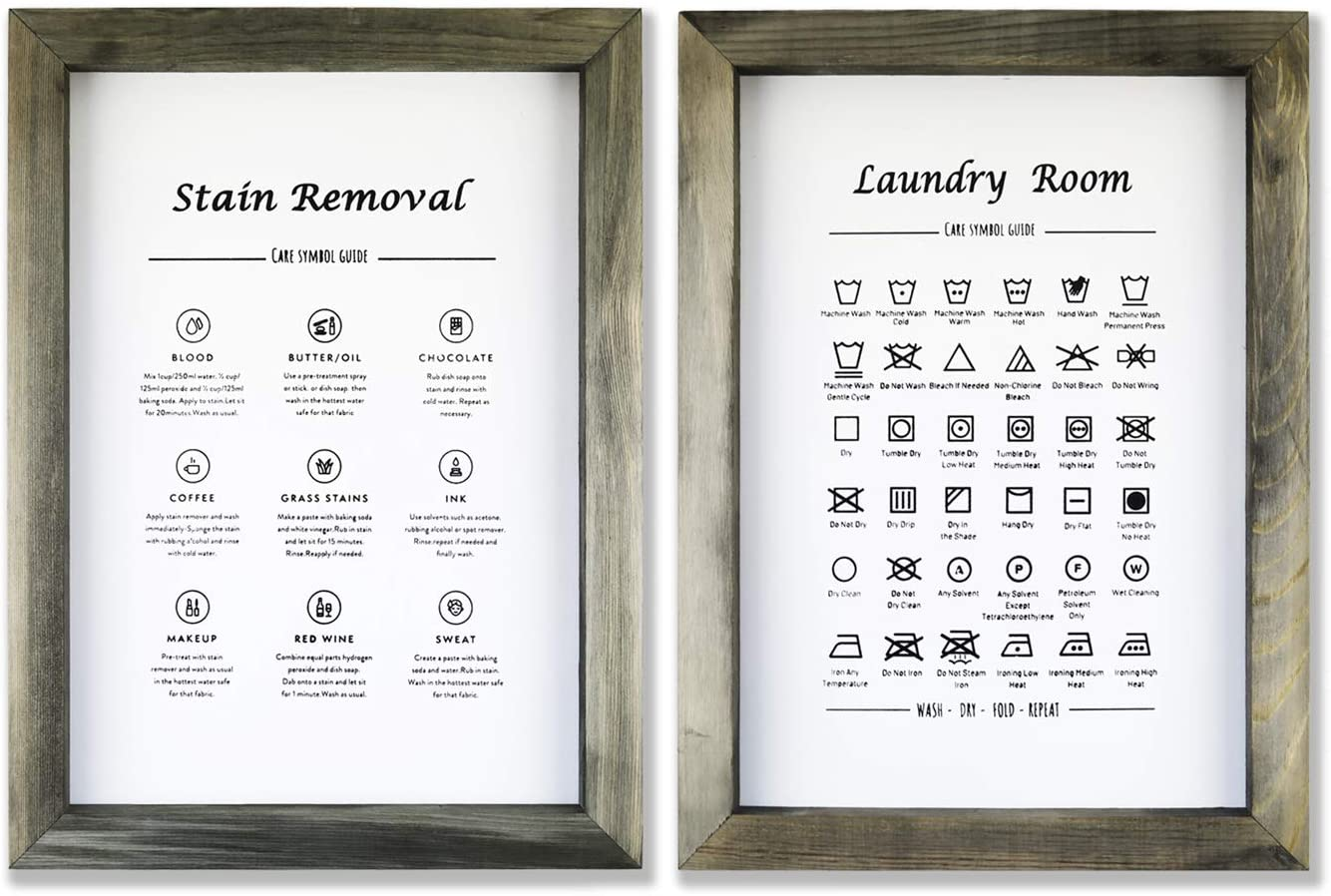 Kdesign Laundry Signs for Laundry Room Decor, 11 x 15 inch Vintage, Wooden Framed Laundry Room Sign x 2, Laundry Symbols Wall Art for Rustic Laundry Room Decor