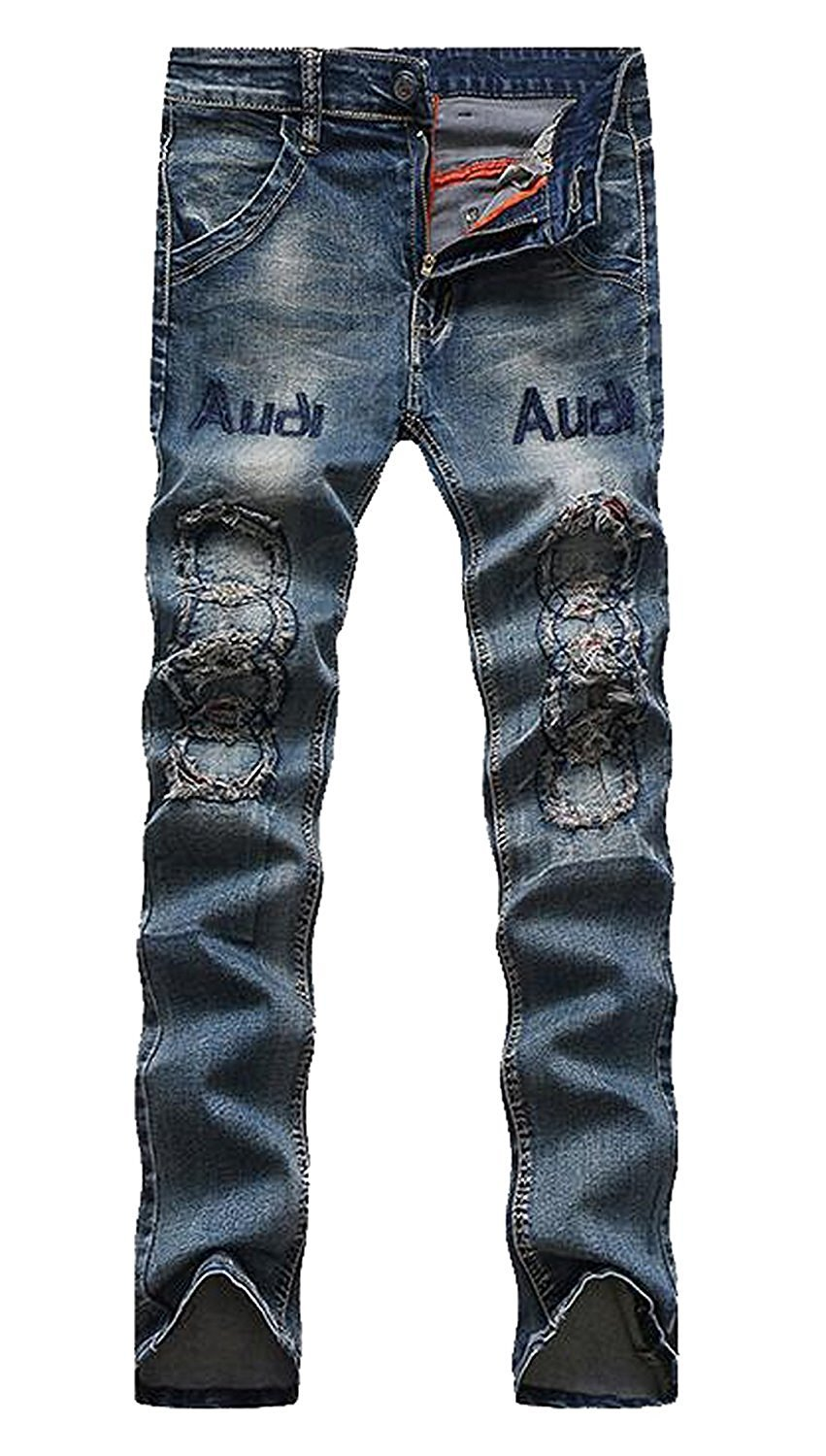 TOPING Fine Fashion Men's Boys Skinny Thin Distressed Hip Hop Jean Slack Blue30 by Toping Fine Pants (Image #1)