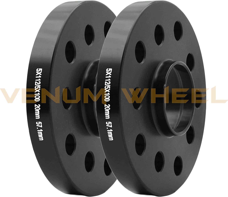 4pc 12mm /& 20mm Audi 5x100 5x112 Staggered Kit W// Black Bolts 14x1.5 Oem Wheels