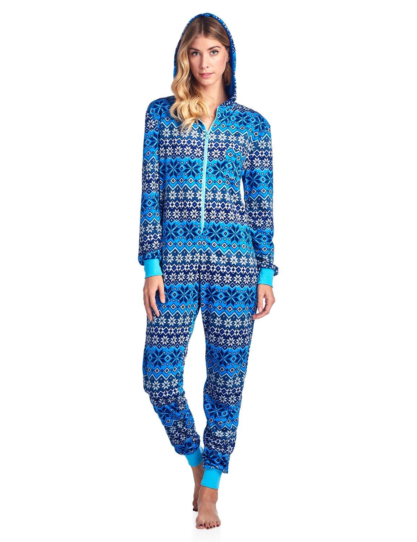 Ashford & Brooks Women's Mink Fleece Hooded One Piece Pajama Jumpsuit - Snowflake Fair isle Blue - 2X-Large