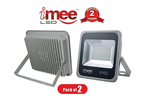iMee 70 Watts Extra Bright 7000 Lumens IP65 High Power Factor & Wide Light Spread LED Flood Light 6500K (Cool Day Light), Pack of 02, Heavy Weight Strong Metal & Toughened Glass Body with High at amazon