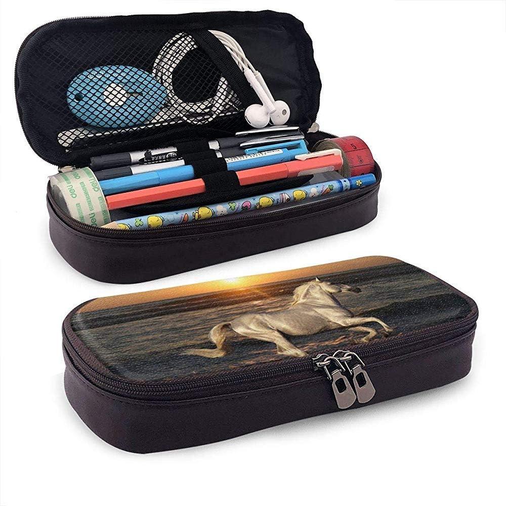 Estuche para lápices de cuero para estudiantes de playa y caballo Estuche para bolígrafos de gran capacidad Organizador Bolsa