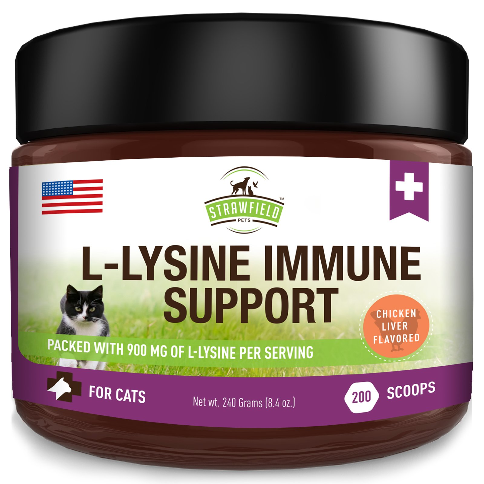 Lysine for Cats - L Lysine Powder Cat Supplements - 900mg, 200 Scoops - Llysine Kitten + Cat Immune System Support Supplement for Cold, Sneezing, Eye Health, Upper Respiratory Infection Treatment, USA by Strawfield Pets