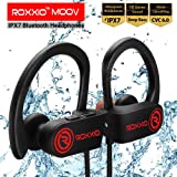 Roxxio Moov Bluetooth Wireless IPX7 Waterproof Earphones Headset with mic, HD Sound Headphones with extra Bass, Noise Cancelling CVC 6.0