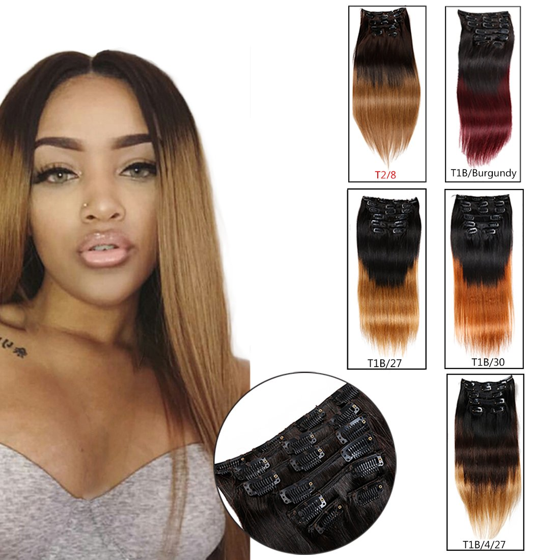 Amazon Ombre Hair Extensions Clip In Human Hair Brazilian