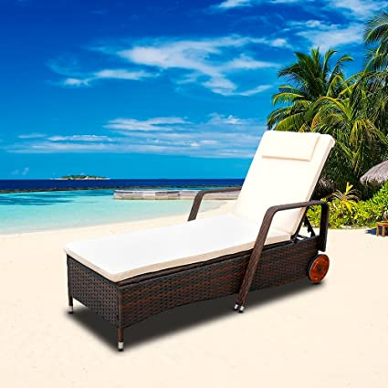 HG® Tumbona Sillones poli ratán Reclinable chaise longue ...