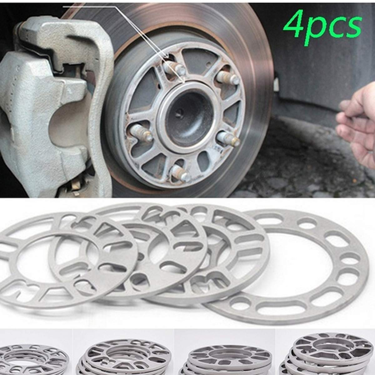Sushiyi Alloy Aluminum Unverisal Adapters for 4 Lug or 5 Lug Wheels Provide Desired Offset Pk of 4 5mm Thickness Wheel Spacers for 98-120 Rims Wheel