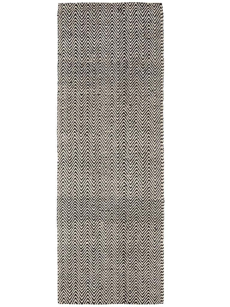 Benuta Teppich Läufer Ives, Baumwolle, Sisal Jute, Schwarz Weiß, 80 x 300.0 x 2 cm