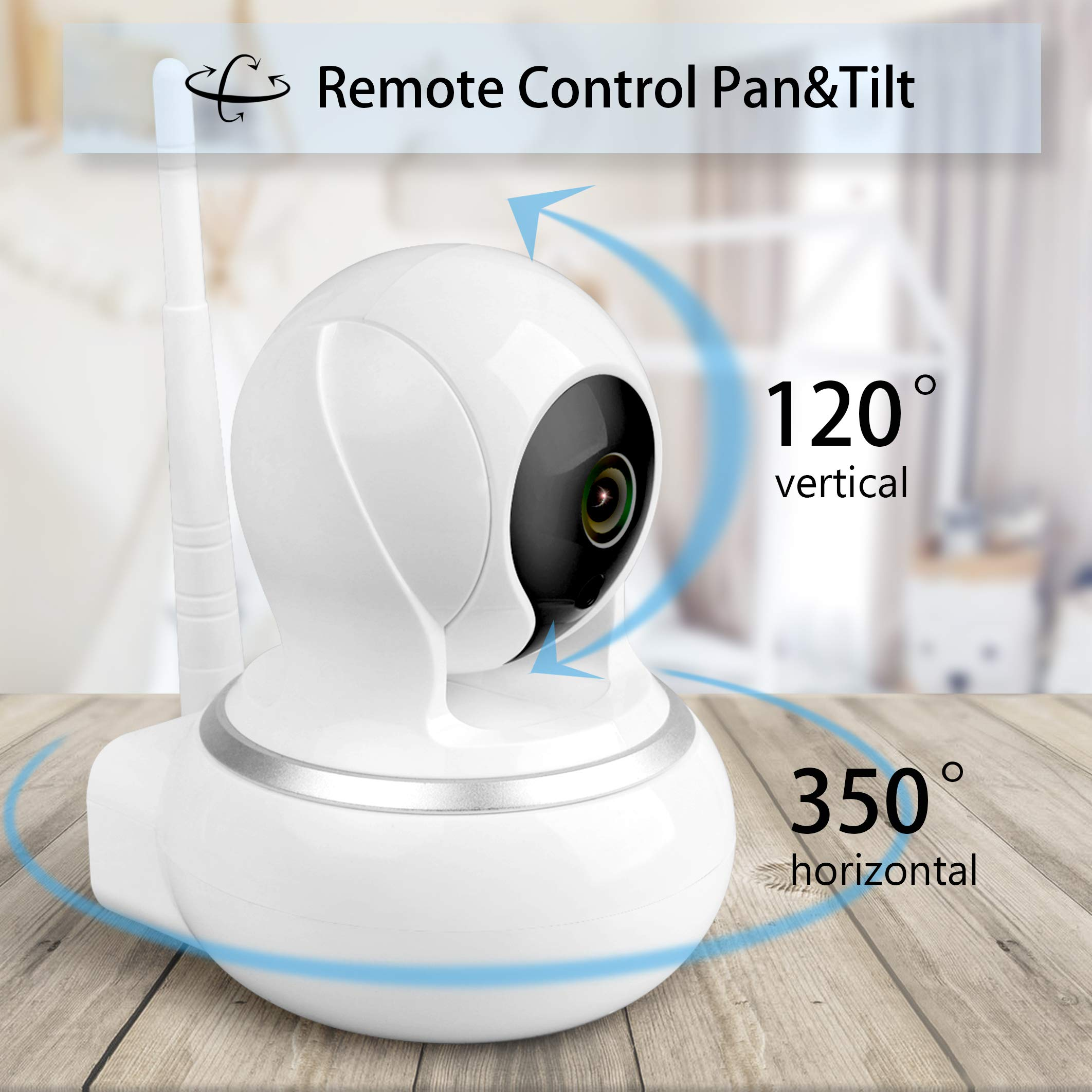 Samxic Video Baby Monitor with 720P Camera, 5 Inches Display, Crying & Temperature Alert, Two-Way Talk, No Glow Night Vision, Remote Pan & Tilt & Zoom, High Privacy Baby Monitor System by Samxic (Image #3)