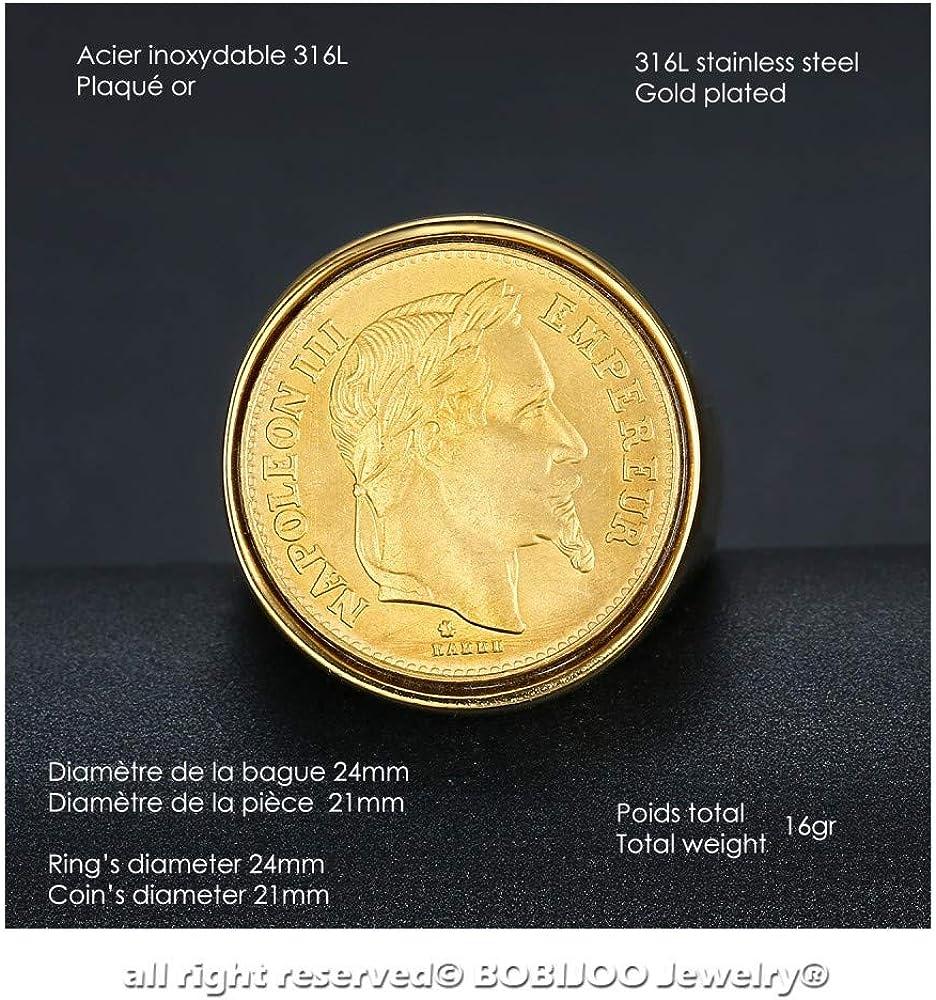 BOBIJOO Jewelry Chevali/ère Bague Napoleon Pi/èce 20 Francs T/ête Laur/ée Acier 316L Argent/é Louis
