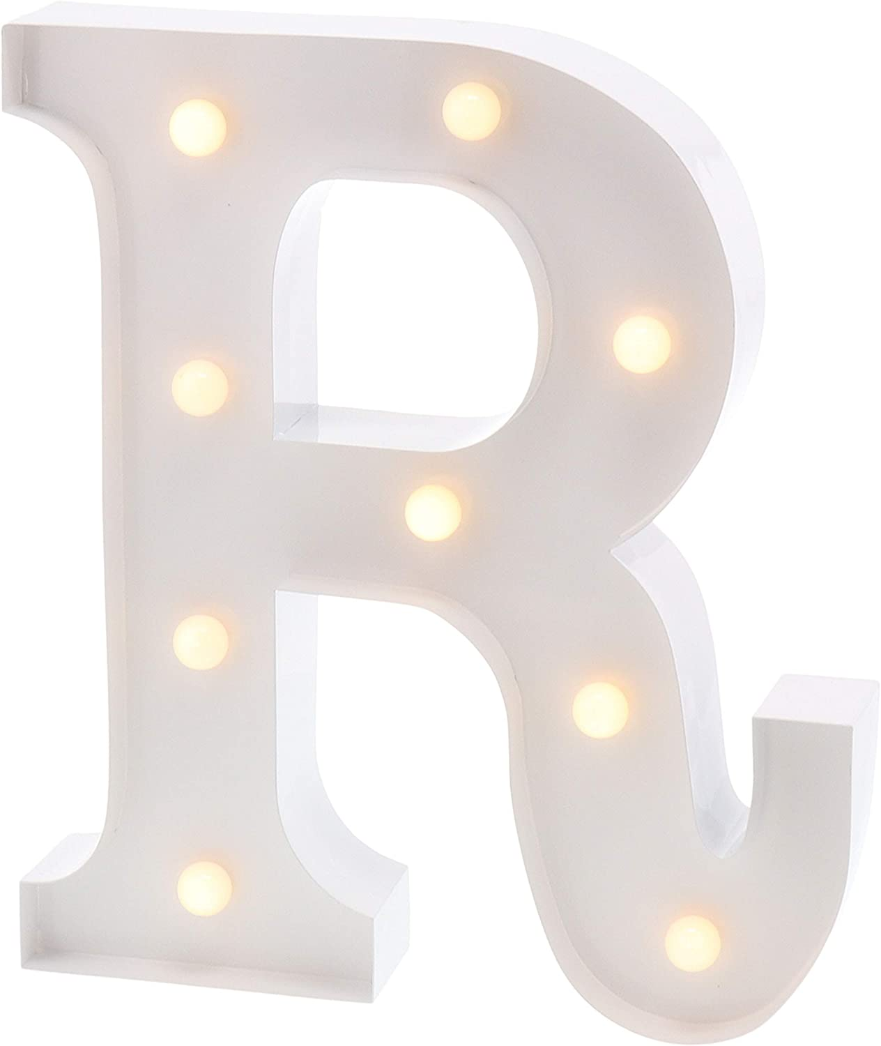 """Barnyard Designs Metal Marquee Letter R Light Up Wall Initial Wedding, Bar, Home and Nursery Letter Decoration 12"""" (White)"""