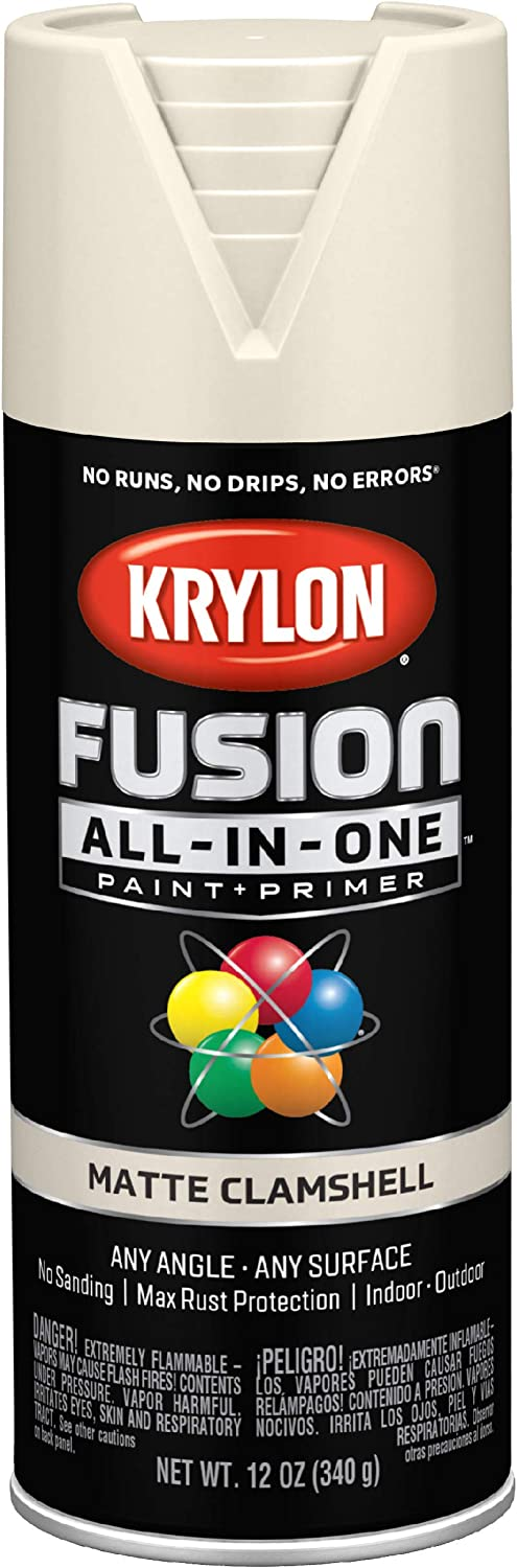 Krylon K02799007 Fusion All-in-One Spray Paint for Indoor/Outdoor Use, Matte Clamshell Off-White