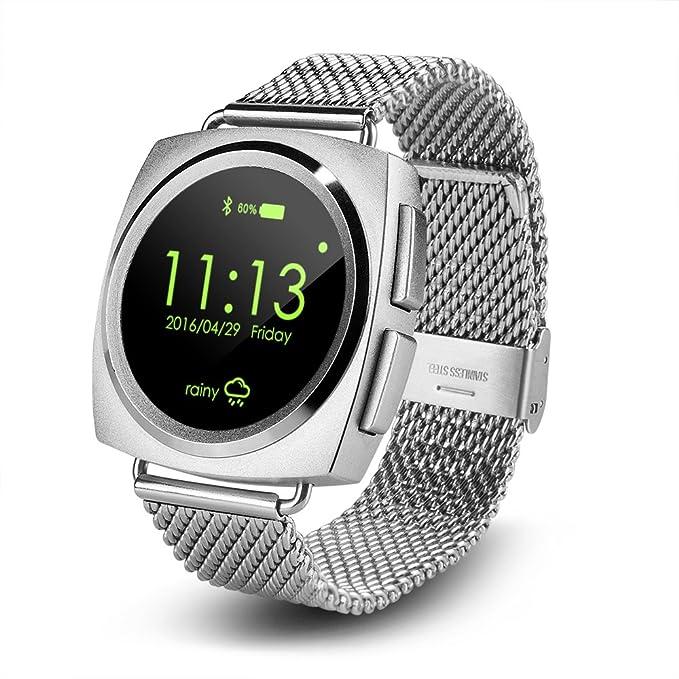 inteligente reloj Compatible con Android y iOS sistema correas de piel o de Bluetooth reloj de