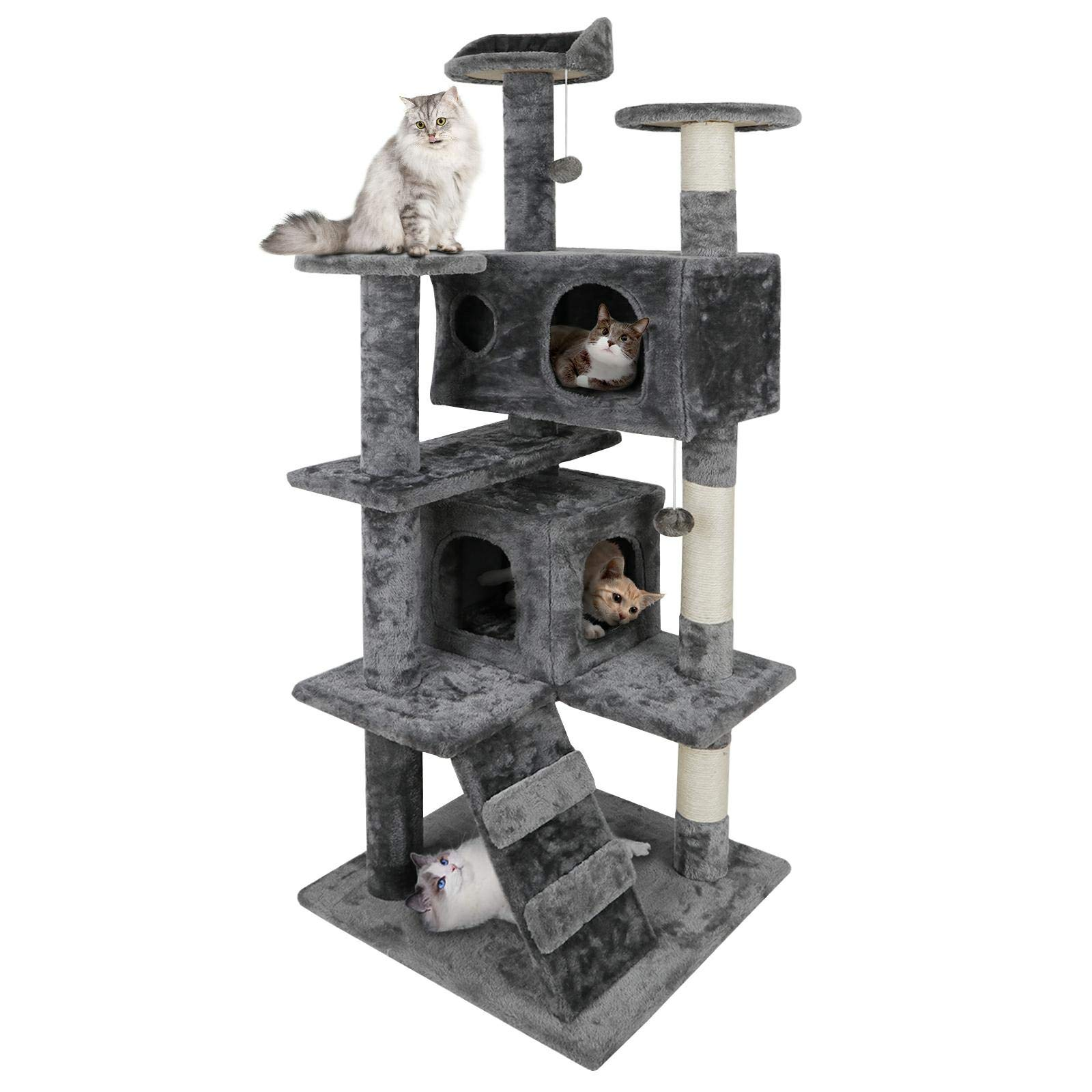 ZENY 53'' Cat Tree with Sisal-Covered Scratching Posts and 2 Plush Rooms Cat Furniture for Kittens by ZENY