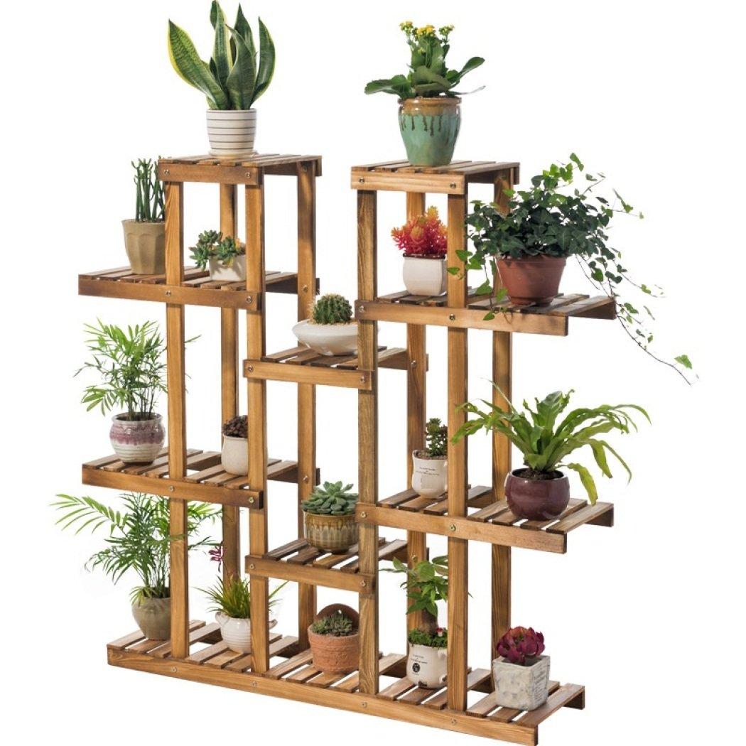 Flower Rack Plant Stand Multi mensole in legno Bonsai Espositore Indoor Outdoor Cortile Giardino Patio Balcone Scaffale multifunzionale Scaffale Scaffale