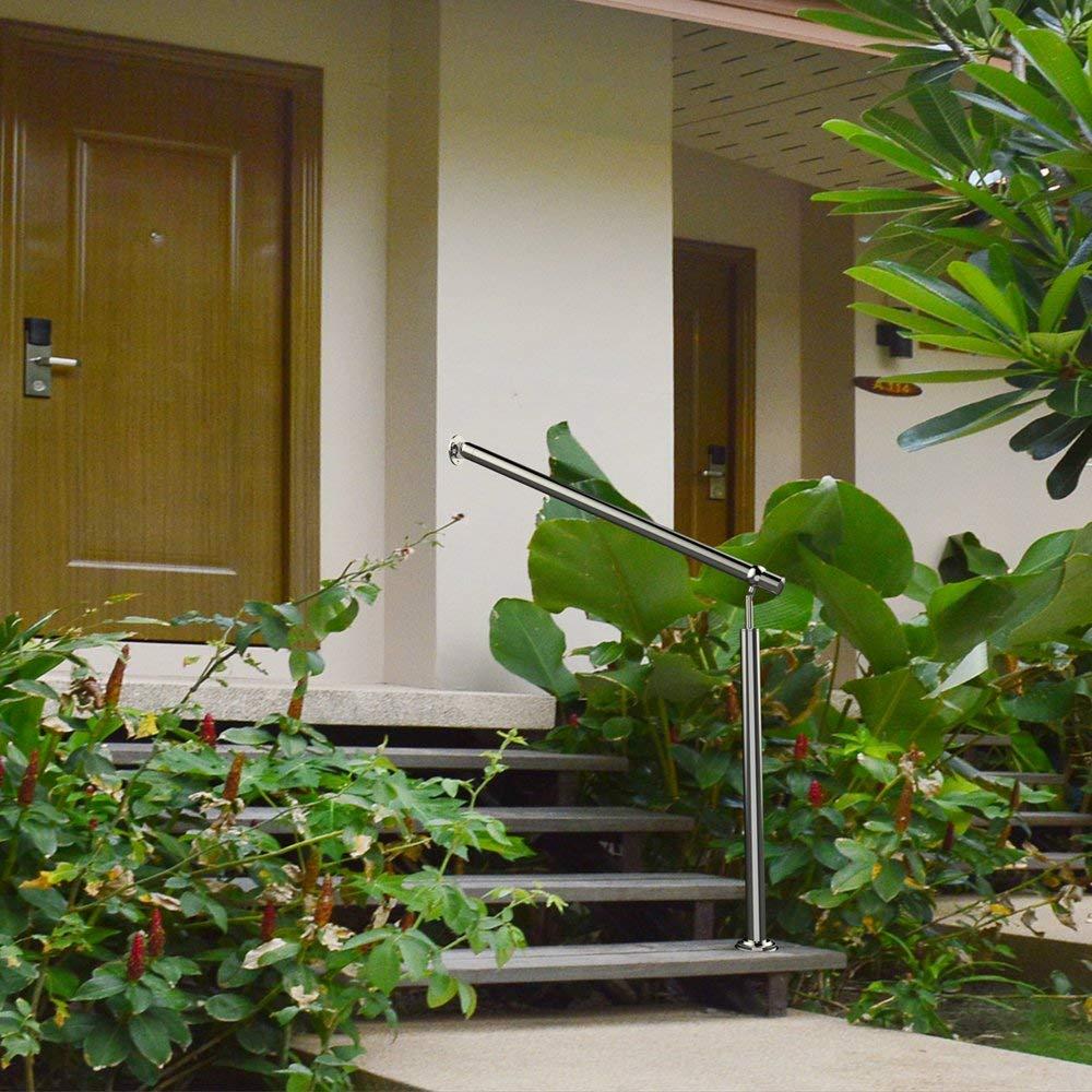 AUFUN Edelstahl Eingangsgel/änder Handlauf Gel/änder f/ür Treppen Wandhandlauf Treppengel/änder Winkel Einstellbar f/ür Drinnen und Drau/ßen Treppenhaus 180 x 90 cm L x H
