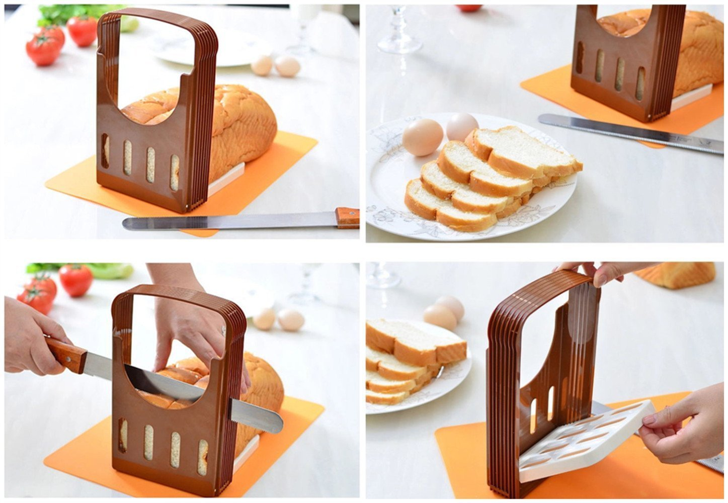 Vangoddy Compact Storage Foldable DIY Home Make Bread Toast Cutter Slicer with 4 Thickness Adjustable (Brown)
