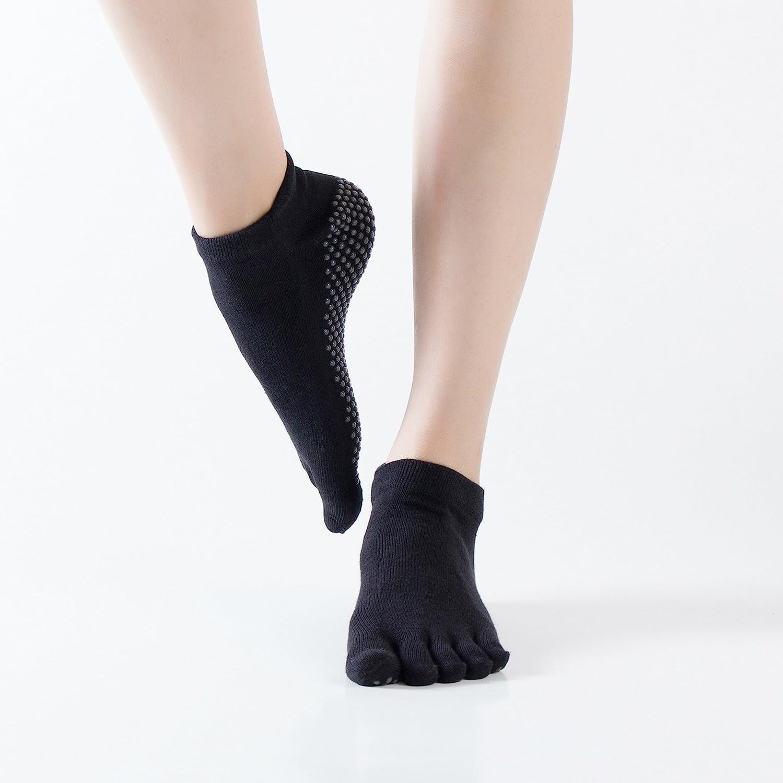 GuiXinWeiHeng 3 pcs Pure cotton yoga socks non-slip open toe halter five finger socks yoga socks sports socks (color random)