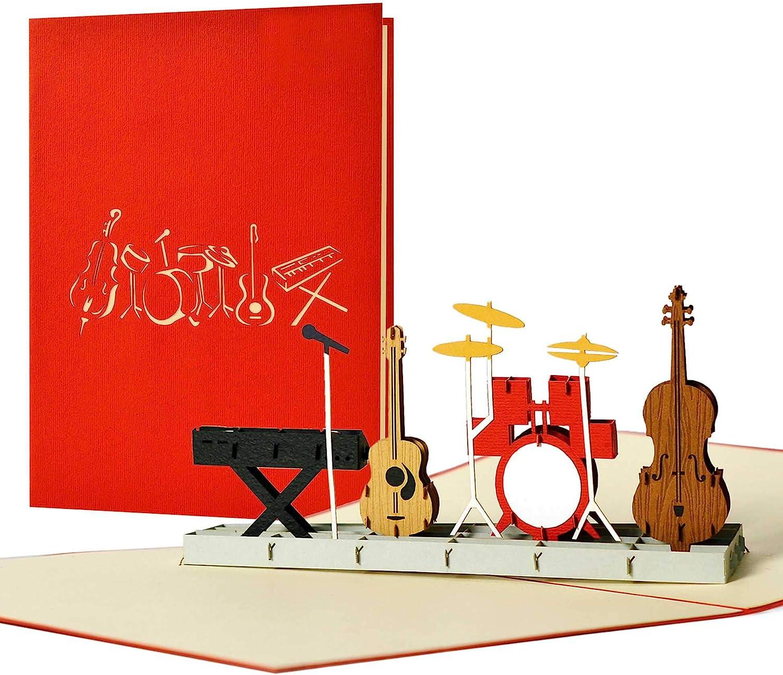 bande de musique et instruments de musique Carte de v/œux 3D avec enveloppe